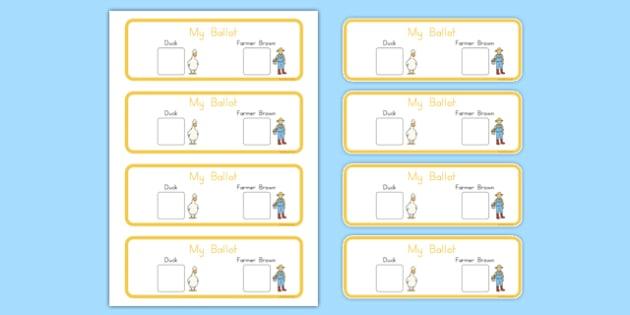 President Duck Voting Ballot - duck for president, president duck, doreen, cronin, voting ballot, vote, ballot