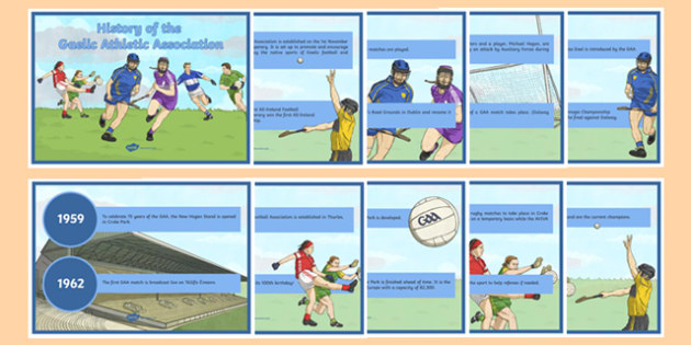 History of the GAA Timeline Posters - history, ireland, irish, GAA, Croke Park, gaelic, hurling, traditions, PE, display, timeline