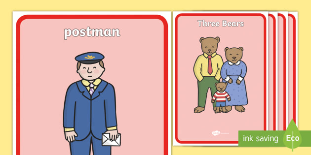Display Posters to Support Teaching on The Jolly Postman - blue, postman, jolly, letter, Janet Ahlberg, Cinderella, story, display, banner, poster, sign, story book, book resources, Three Bears, wolf, gian, goldilocks, postcard, witch, palace