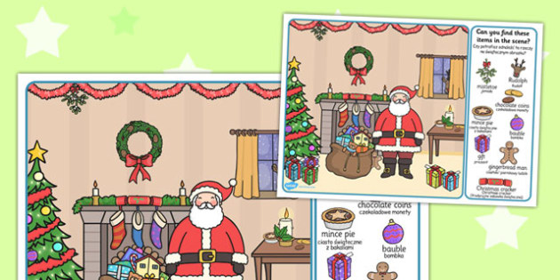 Christmas Picture Finding Activity Polish Translation - jolly, colouring, objects, filler, early years, KS1