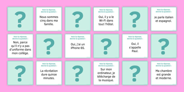 Guess the Question in French Card Game - French