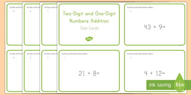 Common Core First Grade Math NBT C 4 Two-Digit and One-Digit Numbers Addition Task Cards - Common Core, Two digit addition, 1 digit addition,