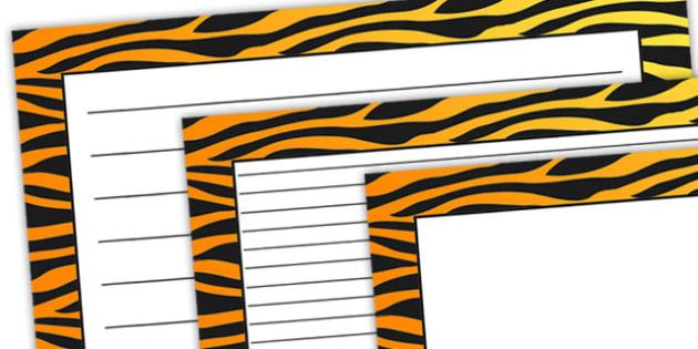 Tiger Pattern Landscape Page Border - safari, safari page borders, tiger page borders, tiger pattern page borders, safari animal pattern page borders