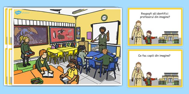 La școală, întrebări pentru dezvoltarea vorbirii - Planșă - la școală, dezvoltarea vorbirii, planșă, comunicare, întrebări, răspunsuri, materiale didactice, română, romana, material, material didactic