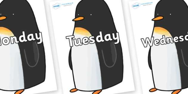 Days of the Week on Penguin to Support Teaching on Lost and Found - Days of the Week, Weeks poster, week, display, poster, frieze, Days, Day, Monday, Tuesday, Wednesday, Thursday, Friday, Saturday, Sunday