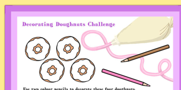 A4 Decorating Doughnuts Maths Challenge Poster - Doughnuts, Maths