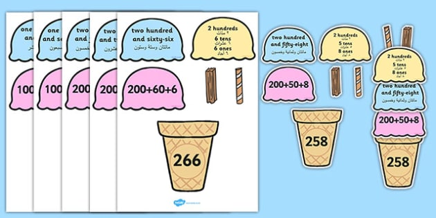Place Value Ice Cream Cone Matching Activity Hundreds Tens and Ones Arabic Translation - arabic, place value, ice cream cone, matching, activity, hundreds, tens, ones