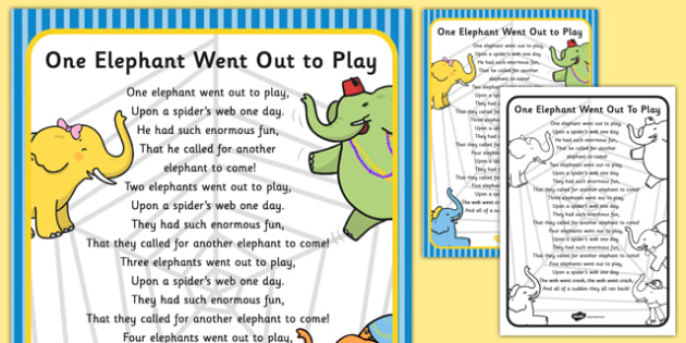 One Elephant Went Out to Play Nursery Rhyme Poster - rhymes, poem