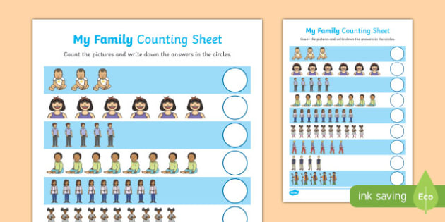 My Family Up to 10 Counting Activity Sheet, worksheet