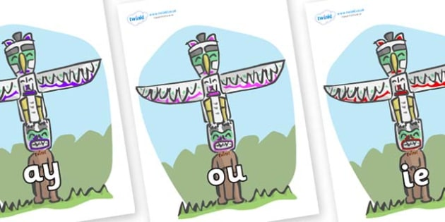 Phase 5 Phonemes on Totem Poles - Phonemes, phoneme, Phase 5, Phase five, Foundation, Literacy, Letters and Sounds, DfES, display