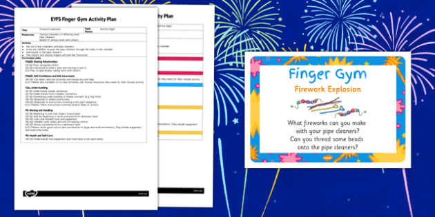 EYFS Firework Explosion Finger Gym Activity Plan and Prompt Card Pack
