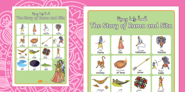 The Story of Rama and Sita Vocabulary Poster Arabic/English