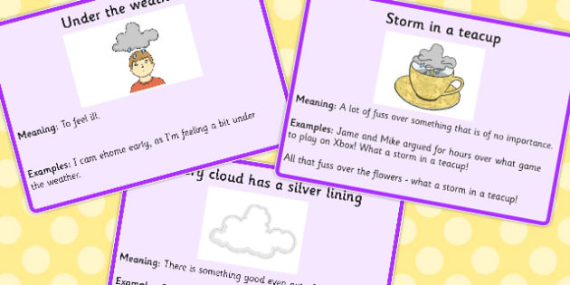 Weather Idioms Meaning Cards - weather, idioms, meaning, cards