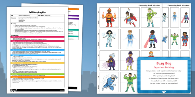 Superhero Building Activity EYFS Busy Bag Plan and Resource Pack - Blocks, superhero, matching