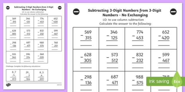 Subtracting 3 Digit Numbers from 3 Digit Numbers Worksheet Year – Subtracting 3 Digit Numbers Worksheet