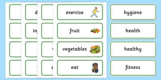 Health and Hygiene Word Cards - Good health, hygiene, behaviour management, word card, flashcards, eat fruit, walk to school, vegetables, exercise, brush teeth, wash hands, drink water