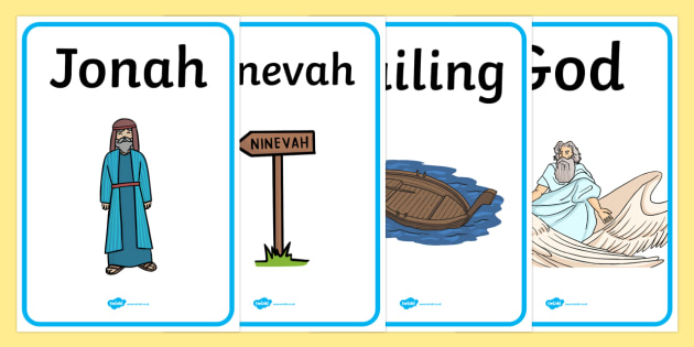 Jonah and the Big Fish Display Posters - Jonah, bible, big fish, God, Ninevah, fish, help, display, posters, sign, biblical story, biblical stories, eaten by a fish, listen to god