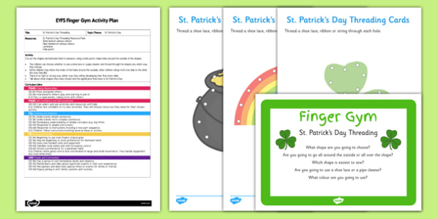 EYFS St Patricks Day Threading Finger Gym Plan and Resource Pack - St Patricks day, Finger gym