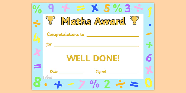 Maths Award Certificate - Maths Award Certificate, Amazing