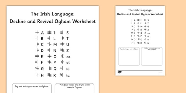 The Irish Language Decline and Revival Ogham Worksheet - Irish language, decline and revival, conradh na gaeilge, gaeltacht, history, ogham, worksheets