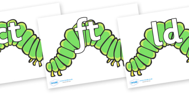 Final Letter Blends on Hungry Caterpillars to Support Teaching on The Very Hungry Caterpillar - Final Letters, final letter, letter blend, letter blends, consonant, consonants, digraph, trigraph, literacy, alphabet, letters, foundation stage literacy