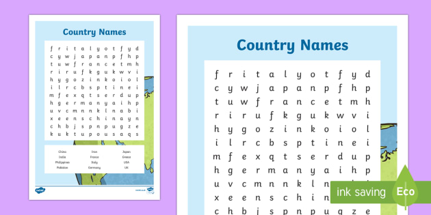 Country Names Word Search - Canadian Multiculturalism Day Resources