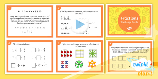 PlanIt Y4 Fractions Challenge Cards