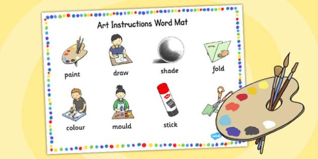 Art Instructions Word Mat - instructions, art, word mat, design