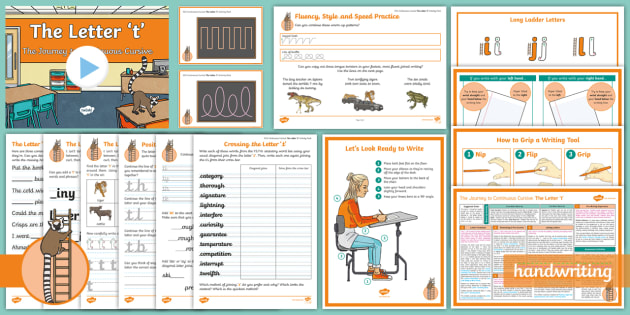 The Journey to Continuous Cursive: The Letter 't' (Ladder Family Help Card 4) KS2 Activity Pack - Nelson handwriting, penpals, fluent, joined, legible, handwriting