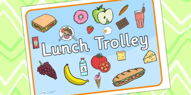 Lunch Trolley Sign - lunch, lunch trolley, signs, labels, display