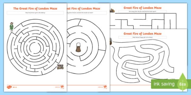 The Great Fire of London Differentiated Maze Activity Sheet, worksheet