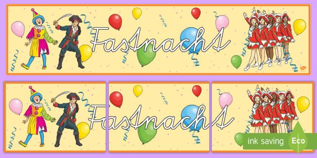 Fastnacht Banner für die Klassenraumgestaltung - Fasching, Karneval, Fastnacht, Banner,German