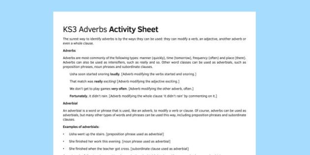 KS3 Adverbs Activity Sheet - ks3, adverbs, activity, sheet, activity sheet, worksheet