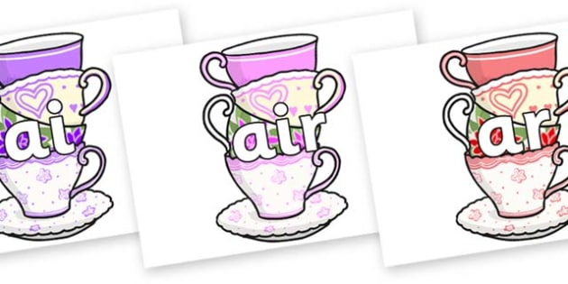 Phase 3 Phonemes on Teacups - Phonemes, phoneme, Phase 3, Phase three, Foundation, Literacy, Letters and Sounds, DfES, display