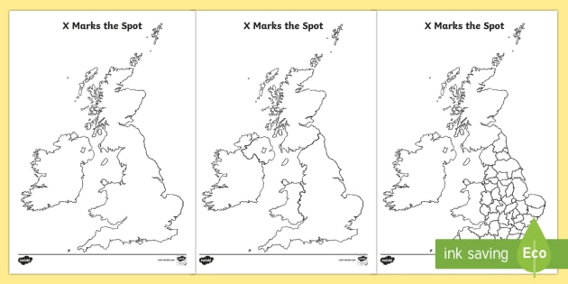 X Marks the Spot England Geography Worksheets - maps, map reading