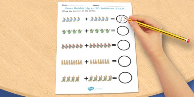 The Tale of Peter Rabbit Up to 20 Addition Sheet - addition, sheet