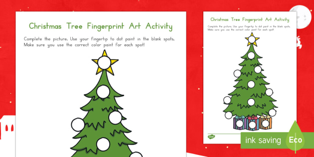 Christmas Tree Fingerprint Art Activity Sheet