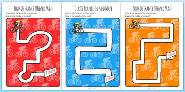 Tour de France Themed Mazes - le tour, sport, games, motor skills