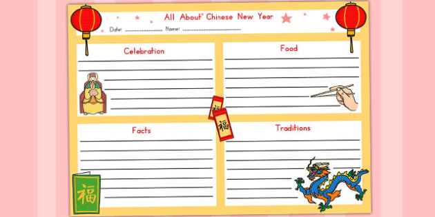 Chinese New Year Writing Frame - australia, writing frame, write