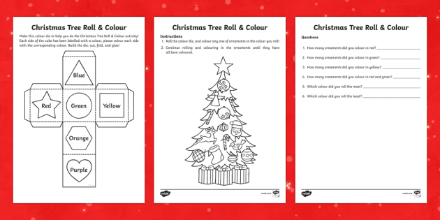 Christmas Tree Roll & Colour Activity Pack
