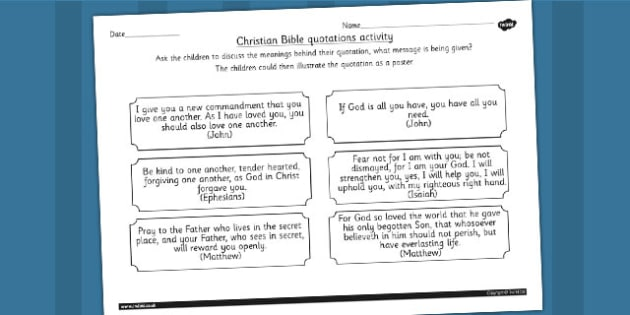 Bible Quotes Discussion Activity - christianity, religion, RE