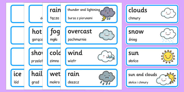 Weather Word Cards Polish Translation - polish, weather, word cards, word, cards