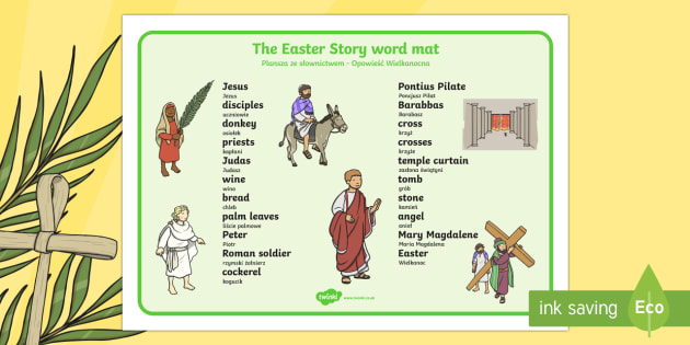 Easter Story Word Mat Polish Translation - polish, Easter, word mat, writing aid, Easter teaching resource, Easter Jesus, Easter Sunday, Easter, bible, egg, Jesus, cross, Easter Sunday, bunny, chocolate