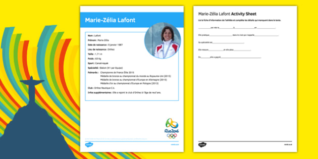 French Olympic Athletes Marie Zélia Lafont Gap Fill Activity Sheet, worksheet