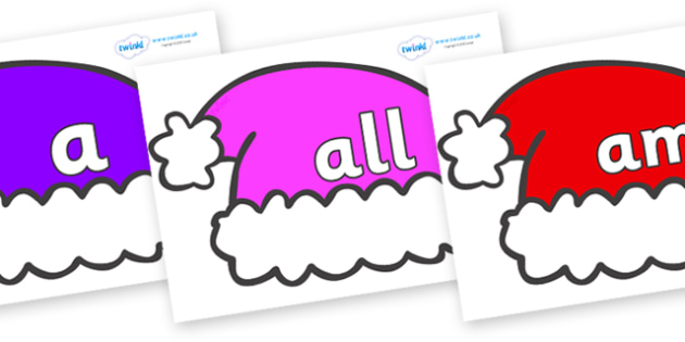 Foundation Stage 2 Keywords on Santa Hats - FS2, CLL, keywords, Communication language and literacy,  Display, Key words, high frequency words, foundation stage literacy, DfES Letters and Sounds, Letters and Sounds, spelling