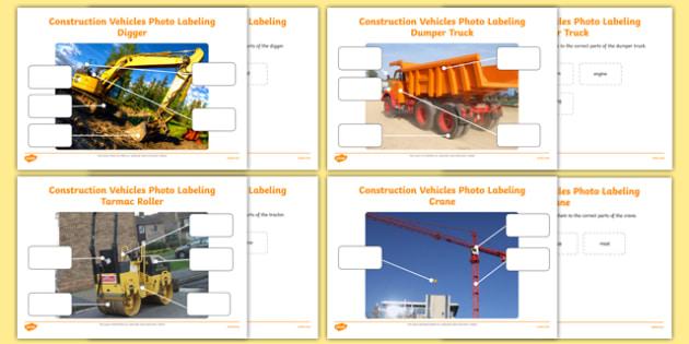 Building Site Construction Vehicles Photo Labelling Activity Pack - building site, construction vehicles, photo, labelling, activity, pack
