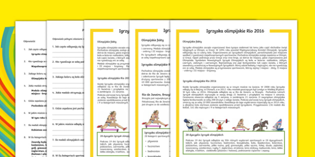 Czytanie ze zrozumieniem Igrzyska olimpijskie 2016 po polsku