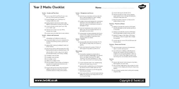 2014 Curriculum Year 2 Maths Assessment Checklist - numeracy, ks1