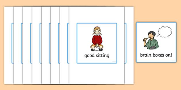 Good Listening Cards - Good listening, listen, behaviour management, SEN, good sitting, good listening, good looking, lips closed, lanyard, listening, brain box