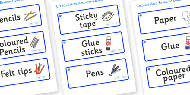 Sapphire Blue Themed Editable Creative Area Resource Labels - Themed creative resource labels, Label template, Resource Label, Name Labels, Editable Labels, Drawer Labels, KS1 Labels, Foundation Labels, Foundation Stage Labels
